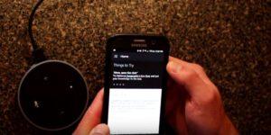 Écran d'accueil Alexa App et Echo Dot